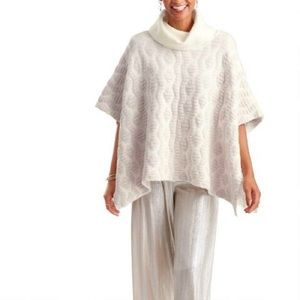 World Market Ivory and Blush Claire Poncho Sweater